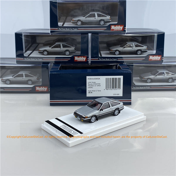 Hobby Japan 1:64 Toyota SPRINTER TRUENO GT APEX (AE86) High Tech Two Tone (HJ641008SK) Silver/Black  diecast car model available