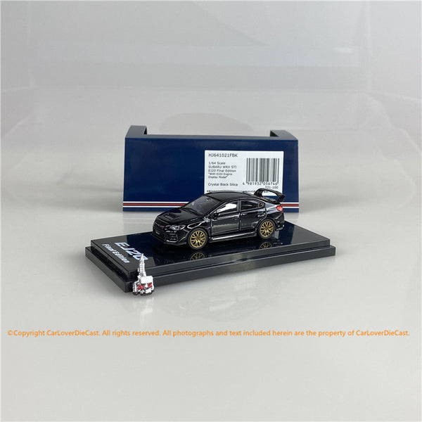 Hobby Japan 1/64 SUBARU WRX STI EJ20 Final Edition with EJ20 Engine Display Model Black ( HJ641021FBK) diecast car model available