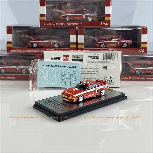 POPRACE x INNO64 1:64 NISSAN SKYLINE GT-R R32 #1 Tooheys 1000 1992  (with display case) (PR64-R32-92T01) diecast car model available