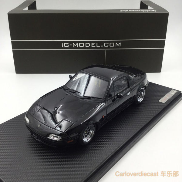 Ignition model - Eunos Roadster (NA) Black (H-Wheel) resin scale 1:18 (IG0665) free display cover