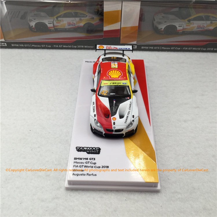 Tarmac Works 1:64 BMW M6 GT3 Macau GT Cup - FIA GT World Cup 2018 Winner Augusto Farfus *Macau Grand Prix 2019 Special Edition(T64-020-18MGP42) diecast car model