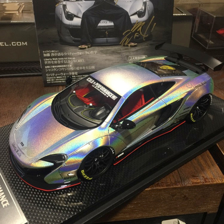J's Models - Lb Works 650S resin Scale 1:18 (White Chameleon carbon based) Limited edition 20 available now