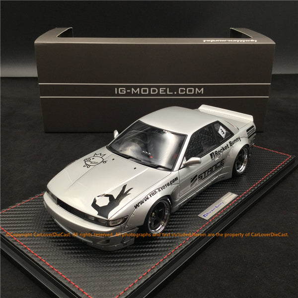 Ignition Model 1:18 Rocket Bunny S13 V2 Silver (IG1136) resin car model available now