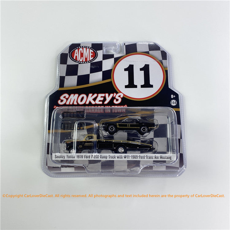 ACME 1:64 Smokey Yunick 1970 Ford F350 Ramp Truck with Trans Am Mustang (GL-51341) diecast car model