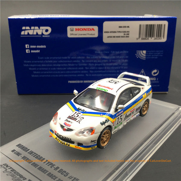 "Modèle Ino 1: 64 Honda INTEGRA - R - DC5 \ \ 353 \ ""série M"" verno ""Japan"" One Make race 2002 (in64 - DC5 - ML)"