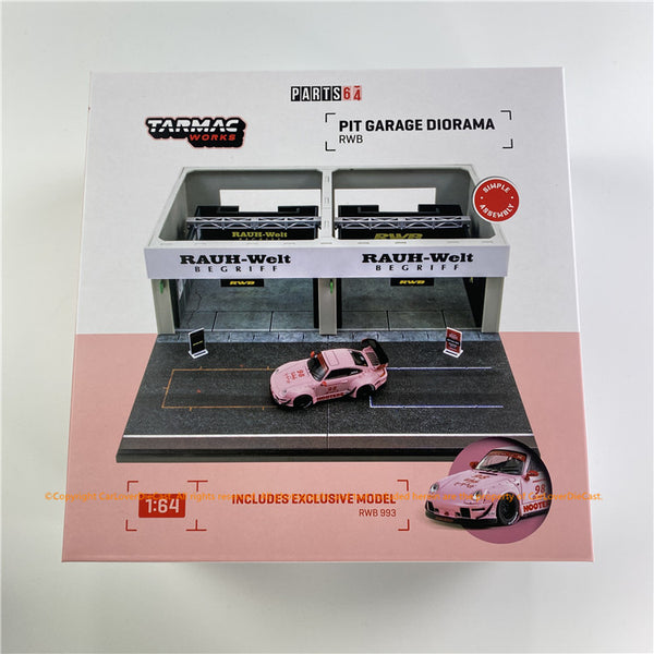 Tarmac Works 1:64 Racing Pit Garage - RWB *** Includes exclusive model (#T64-017-HO) *** RWB 993 Hooters (T64D-001-RWB) diecast car model available now