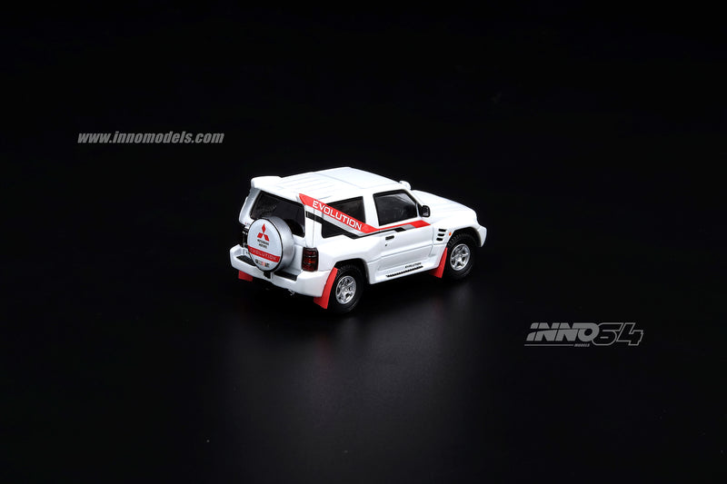 INNO Model 1:64  MITSUBISHI PAJERO EVOLUTION White With Extra Wheels (IN64-EVOP-WHI) diecast car model available on May 2020 Pre-order now