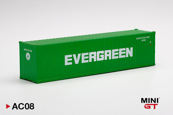 "MINI GT 1/64  Dry Container 40' ""EVERGREEN""/ White/Blue  (MGTAC08/09/10) available on end of MAR 2021 pre-order now"