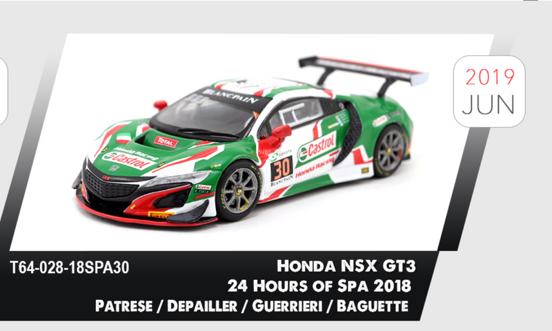 Tarmac works 1:64 Honda NSX GT3 24 Hours of Spa 2018 Patrese / Depailler / Guerrieri / Baguette (diecast)  T64-028-18SPA30 available on June 2019 Pre-order now