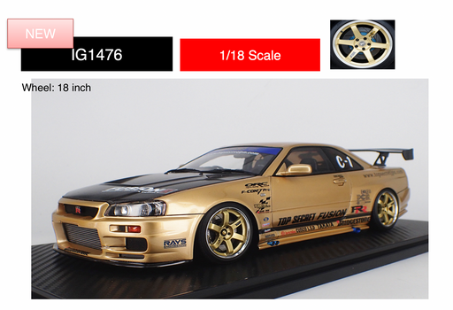 Ignition Model 1:18 TOP SECRET GT-R (BNR34) Gold (IG1476) resin car model available on Aug / Sep 2019 pre-order now