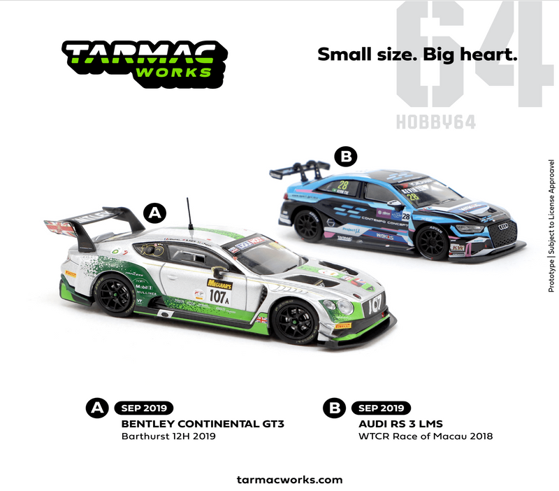 Tarmac works 1:64 Bentley Continental GT3 Bathurst 12 Hour 2019 Gounon / Kane / Pepper  (T64-030-19BA107) diecast model available on  Sep 2019 pre-order item