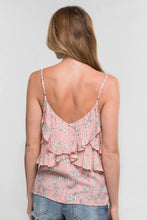 Load image into Gallery viewer, Floral Print Ruffle Spaghetti Strap Top