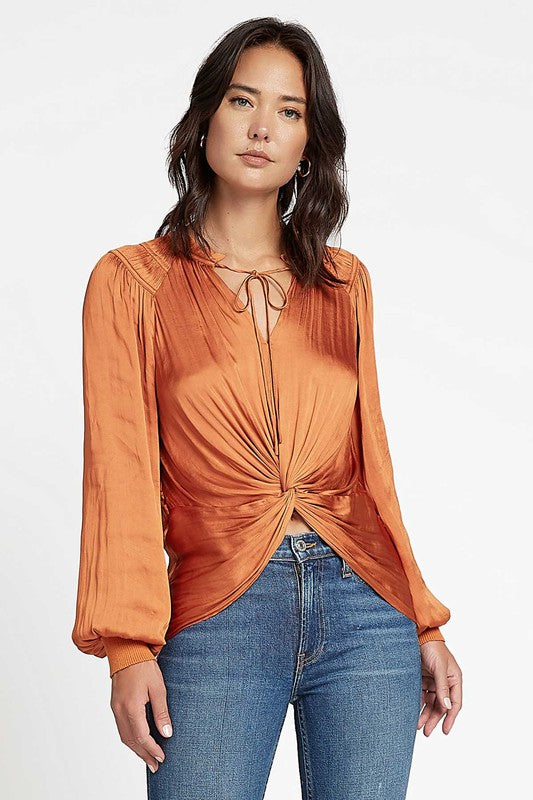 Current Air Twist Front Long Sleeve Blouse