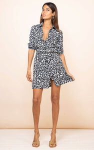 Jonah Mini Shirt Dress - Mono Leopard