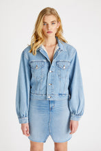Load image into Gallery viewer, Lauryn Faux Fur Lined Jacket - Ice Blue Indigo