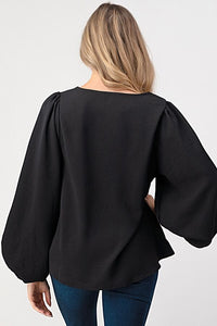 VICTORIA BALLOON SLEEVE WOVEN TOP