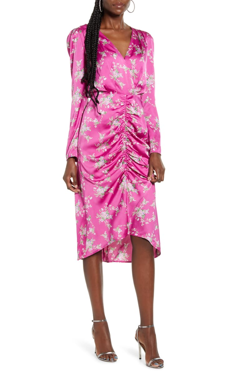 Ronnie Ruched Long Sleeve Midi Dress