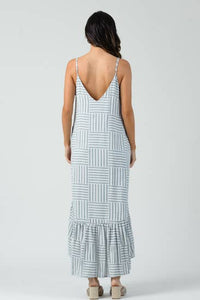 AMARYLLIS HI-LO V-NECK DRESS | LIGHT BLUE STRIPE