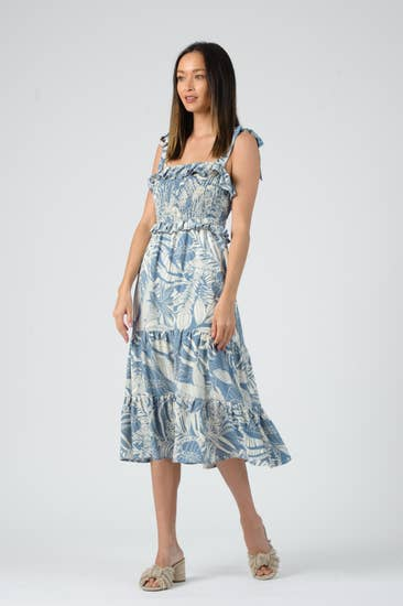 Smocked Tiered Midi Dress