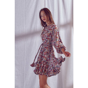 Floral Print Semi Pleated Mini Dress