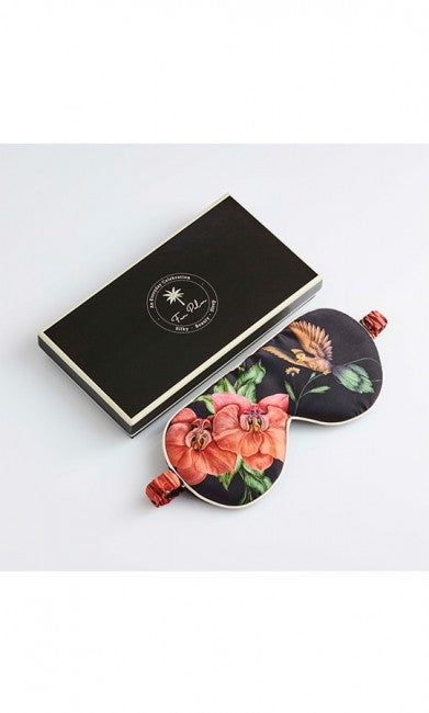 SLEEPING EYE MASK BLACK FLOWER