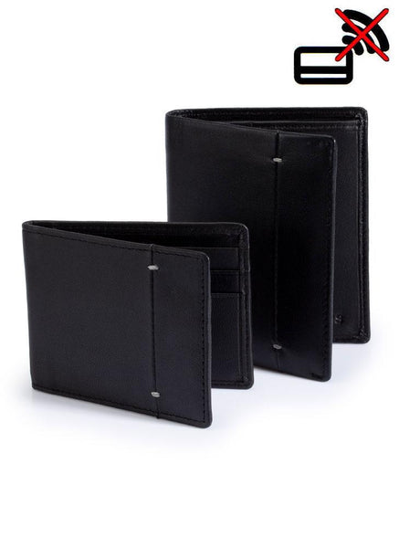 Soft Leather Billfold & Credit Card Wallet Set with RFID Blocking Protection