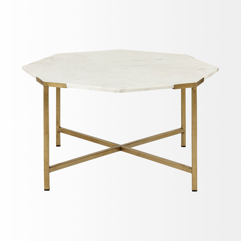 Coffee Table, Alicia White Marble and Brass