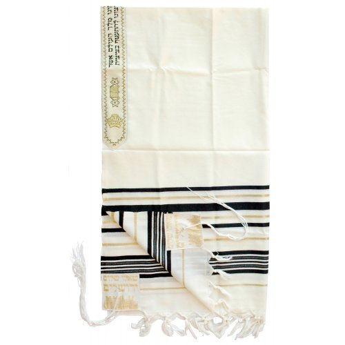 Tallit, Black and Gold Stripes 36'' x 72''