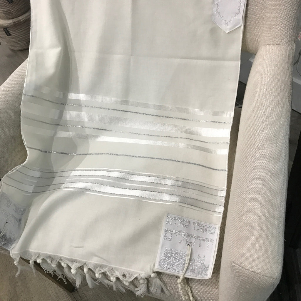 Tallit, 100% Wool White and Silver Tallit , 24 x 72