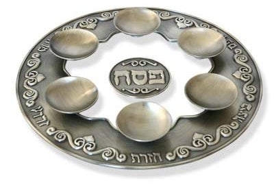 Passover Plate-Pewter & Glass