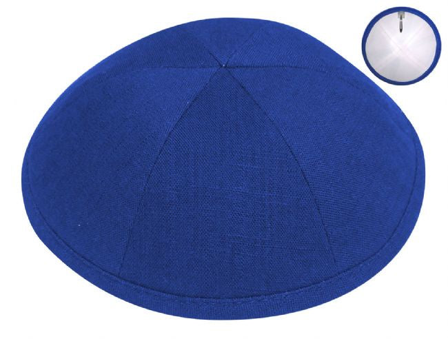 Linen Kippah, Royal Blue