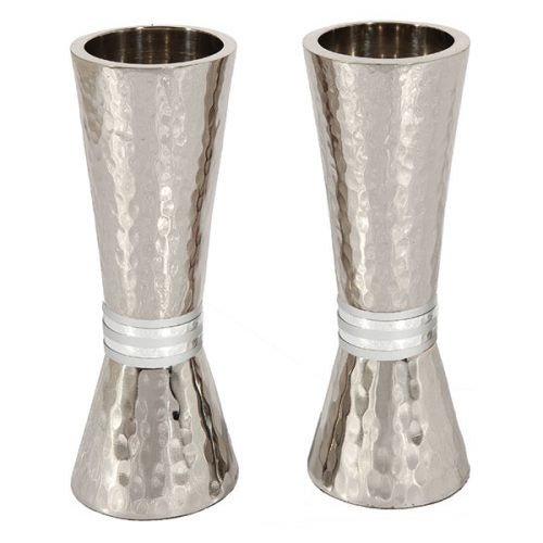 Shabbat candle holder,Grey Rings