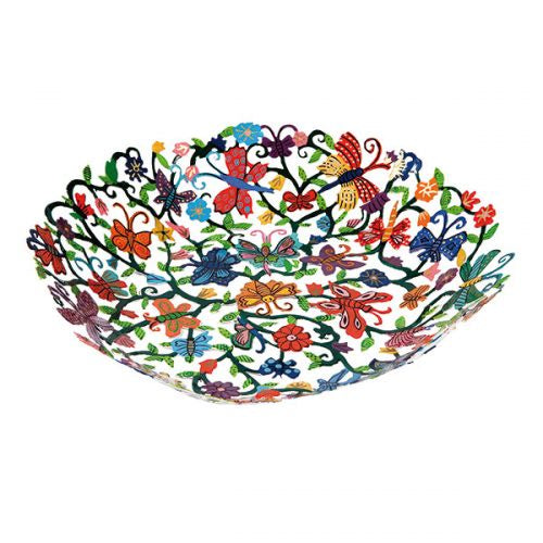 Hand painted butterflies small  laser cut bowl