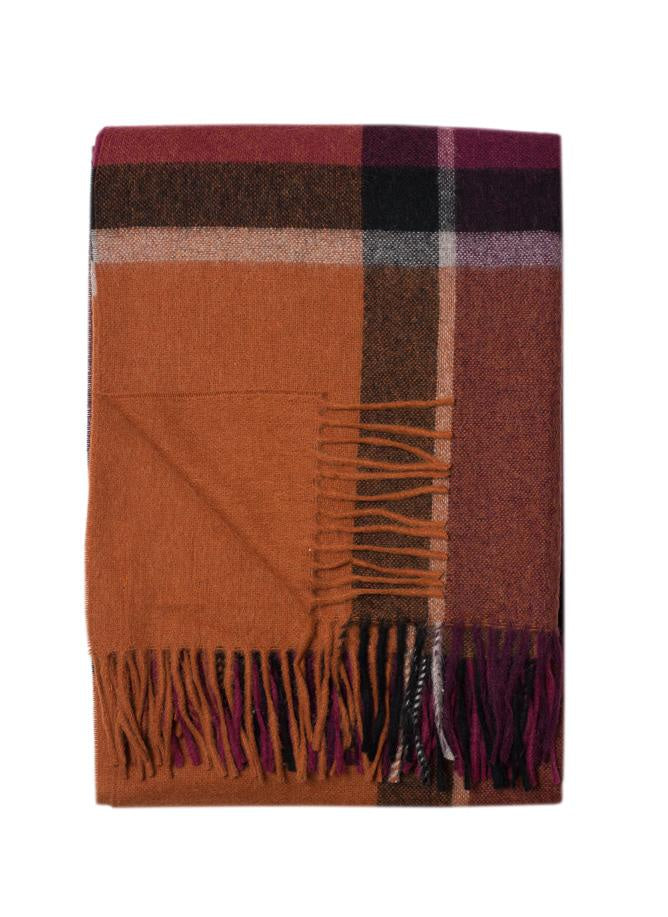 Throw Bristol Orange Burgundy, 55% Alpaca 45% Wool