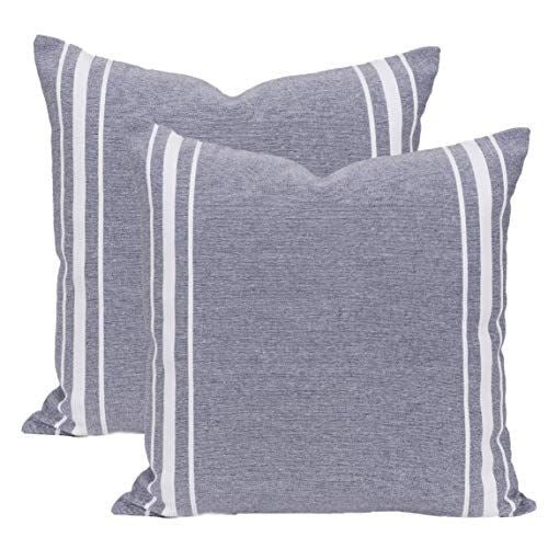 Uptown Grey and Natural Stripe Pillow