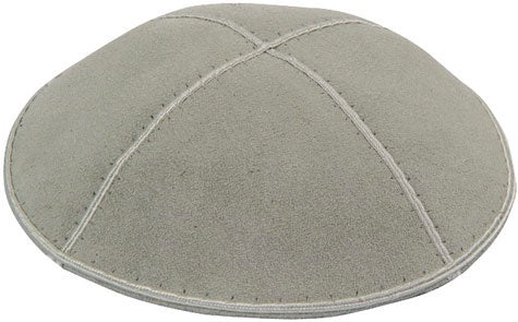 Suede Kippah, Light Grey