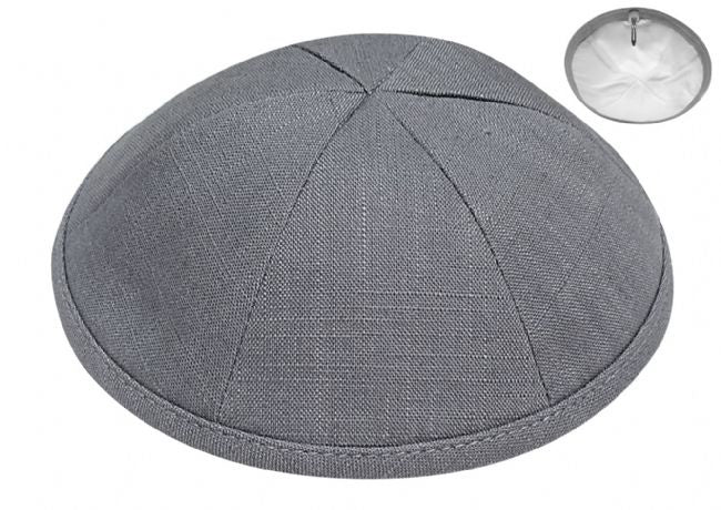 Linen Kippah, Dark Grey