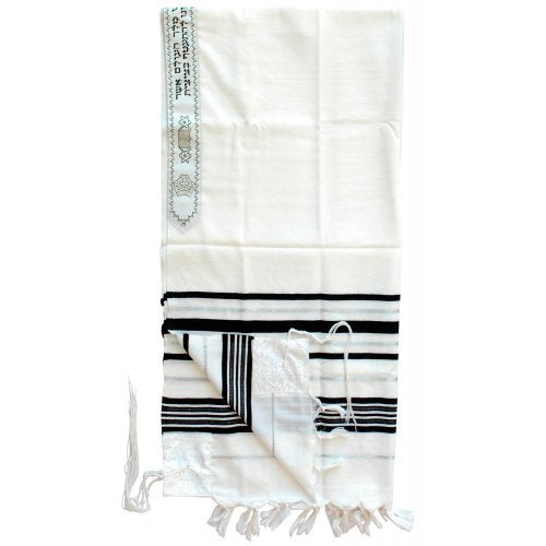 Tallit,  Traditional Black and Silver Stripes 18'' x 72''