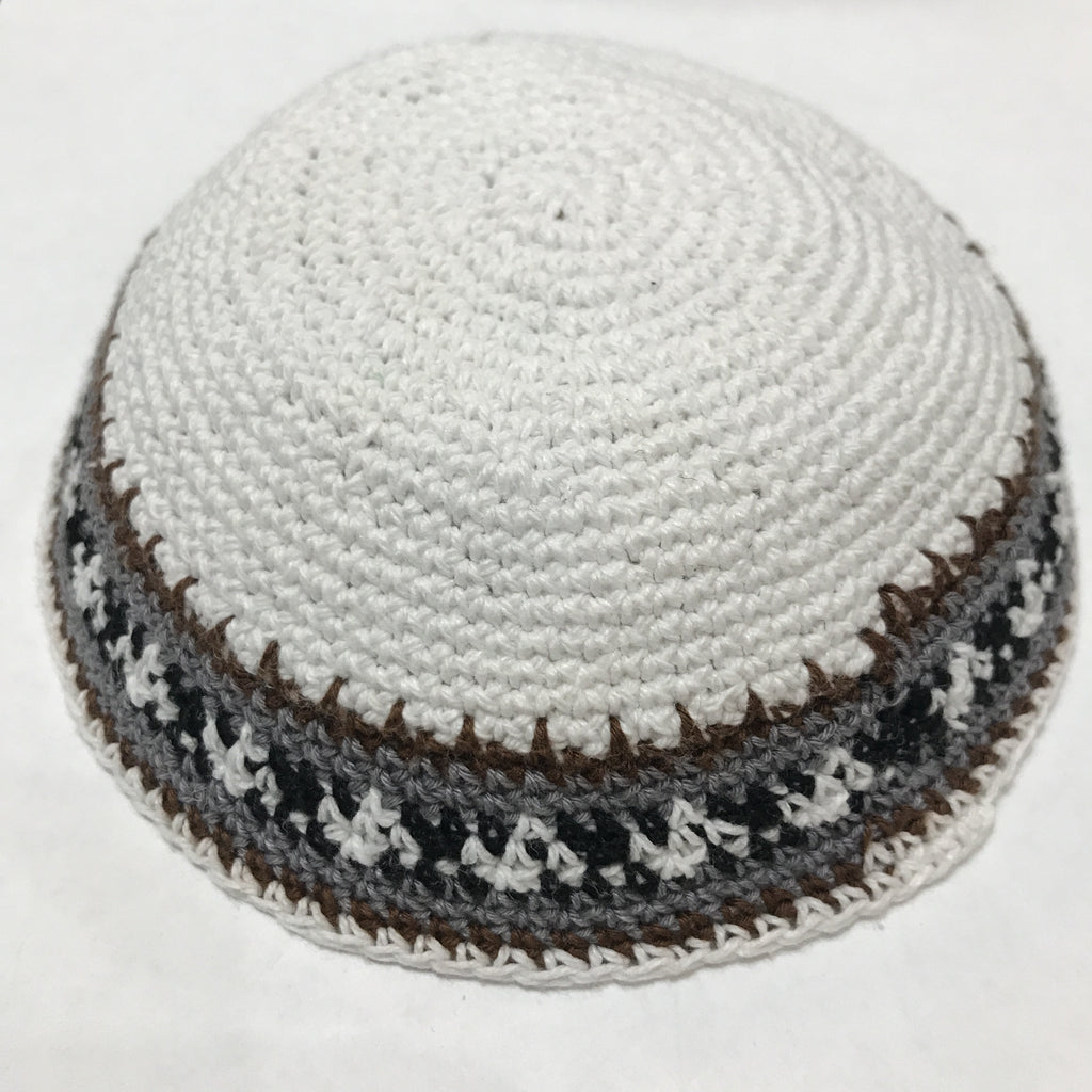 Knit Kippah, White with Grey border pattern