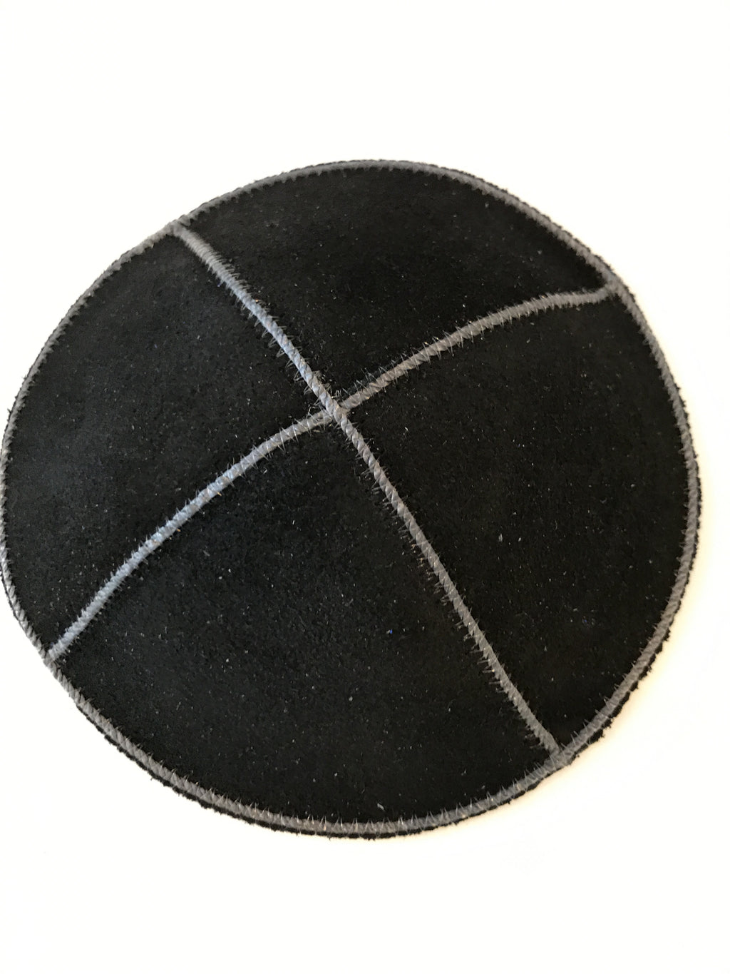 Black Suede Kippah with Trim