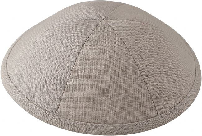 Linen Kippah, Light Grey
