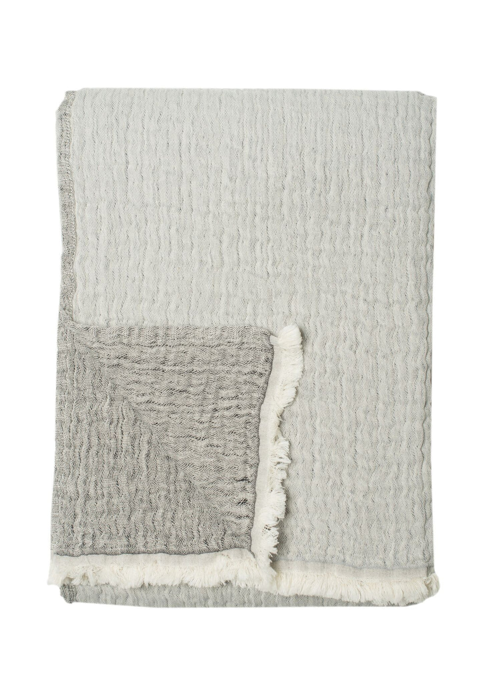 100% Stonewashed Cotton Dora Throw, Grey