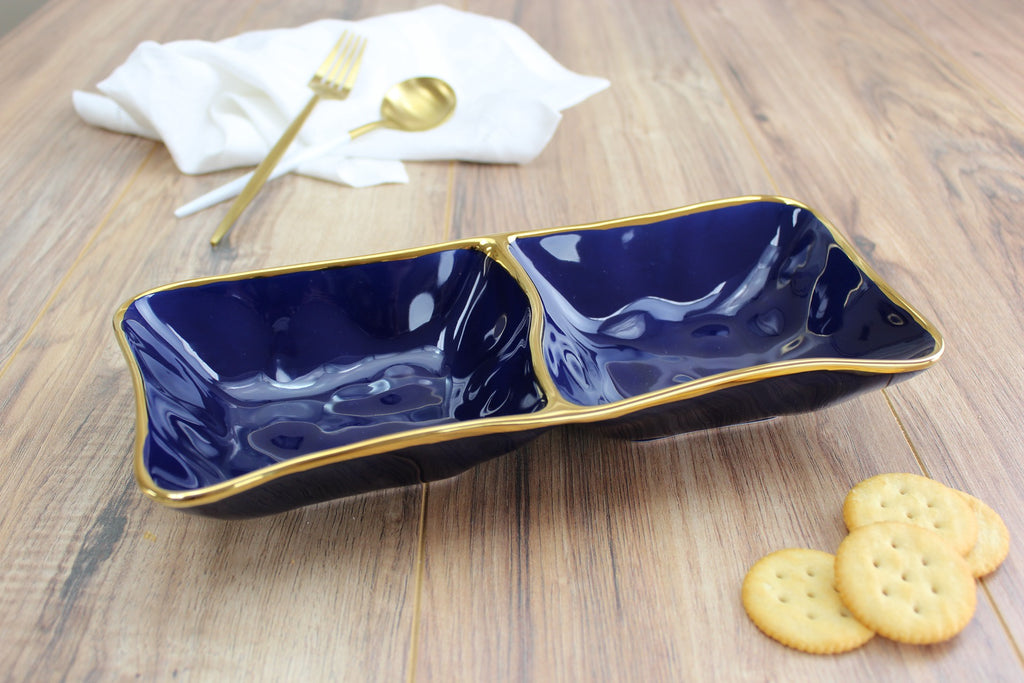 2 section Blue  Server , Porcelain