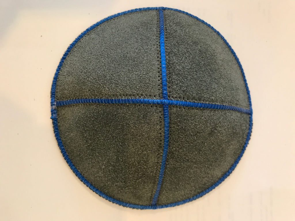 Grey Suede Kippah with Blue Trim
