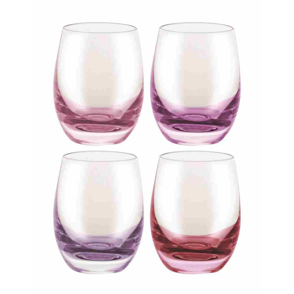Bar, Crystal Shot Glass Set of 4- Red Purple