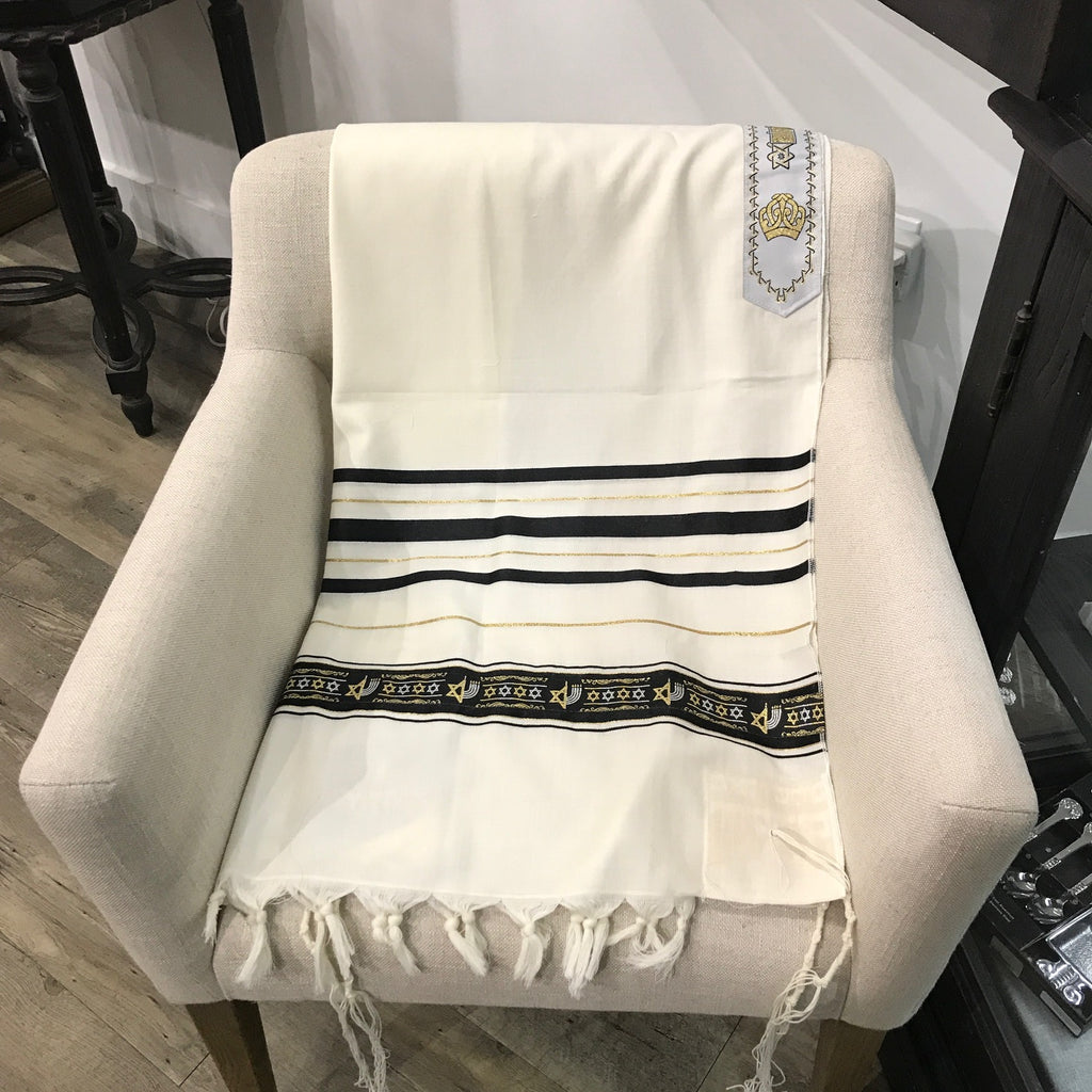 Tallit, 100% Wool Star of David, Black and Gold 18 x 72