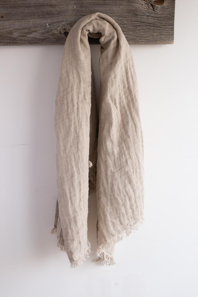 Linen Throw, Cabana Natural-Beige 55'' x 70''  Stonewashed