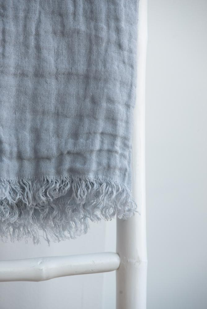Linen Throw, Cabana Mineral Blue 55''x  70'' Stonewashed