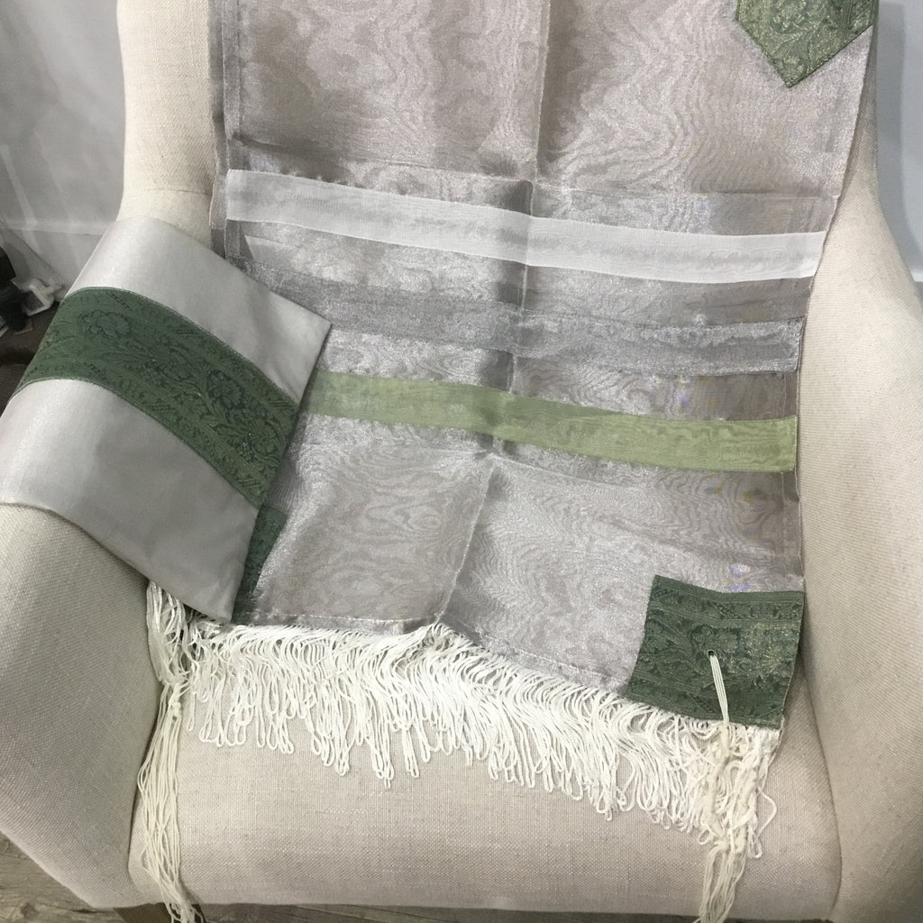 Tallit, Organza Grey, Includes a Bag