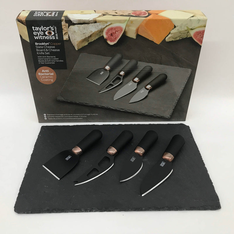Slate Cheese Board & 4 piece Black Set of 4 Knives